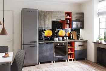 Кухонный гарнитур Крафт эндгрейн-бетон